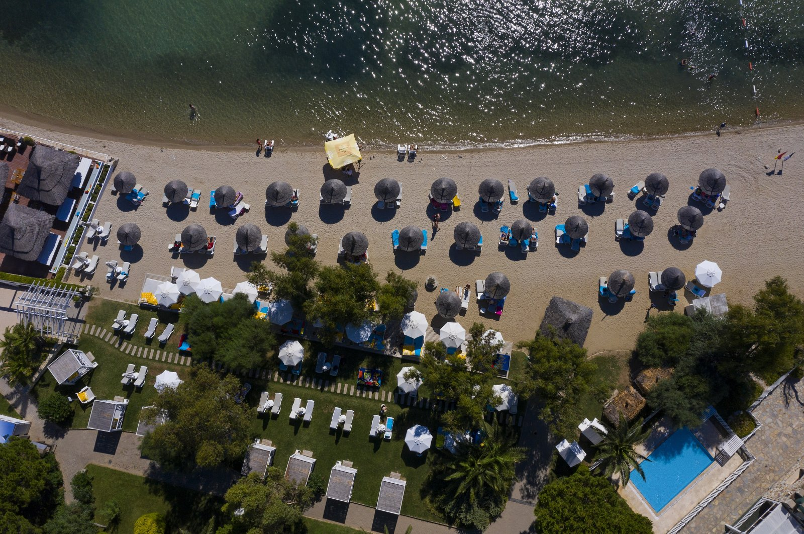 An aerial view of a beach in Foça district in western Izmir province, Turkey, Aug. 14, 2020. (AA Photo)