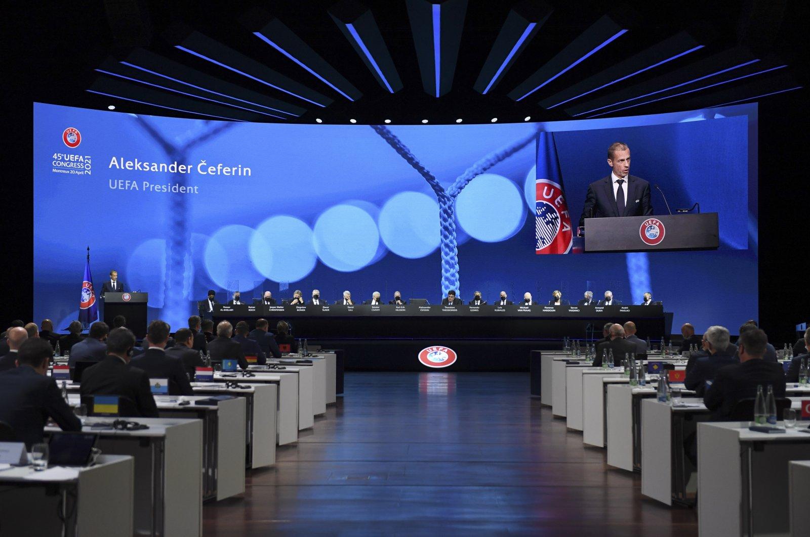 UEFA President Aleksander Ceferin speaks during the 45th UEFA Congress in Montreux, Switzerland, April 20, 2021. (UEFA via AP)