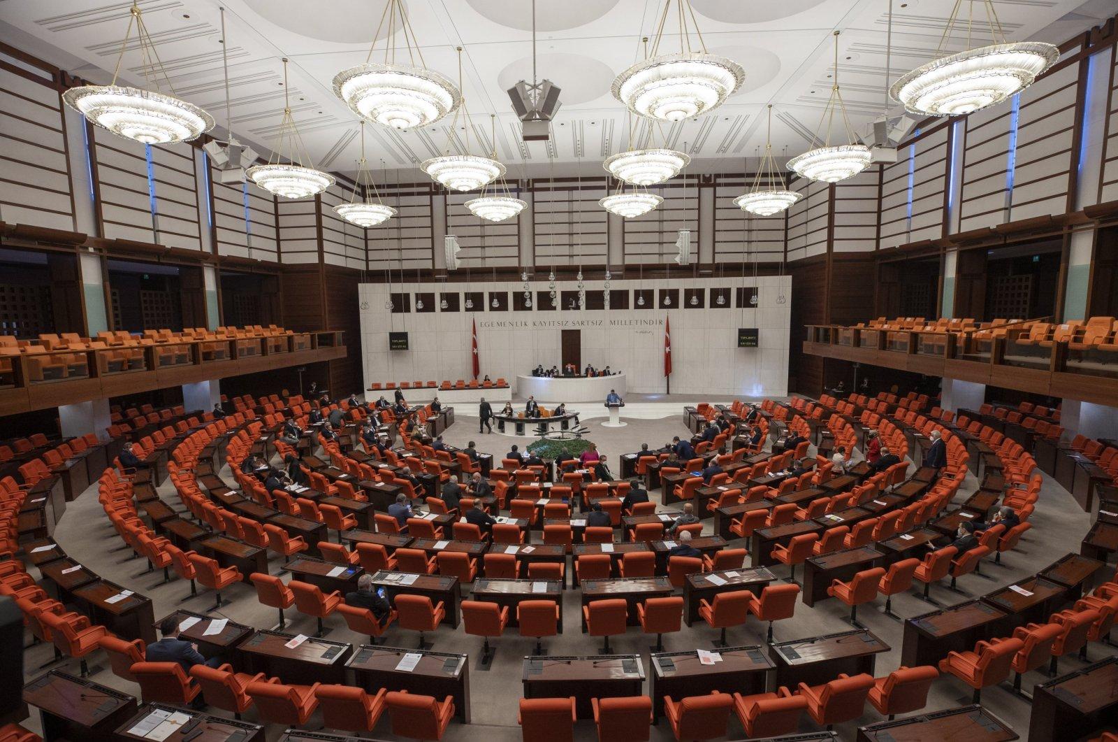 A panoramic view inside the Turkish Grand National Assembly (TBMM), Ankara, Turkey, April 14, 2021. (AA Photo)