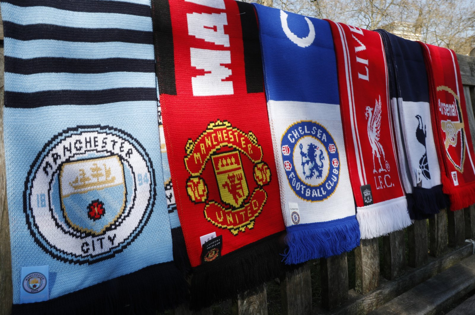Scarves of the Premier League teams part of a proposed European Super League, London, Britain, April 19, 2021. (AP Photo)