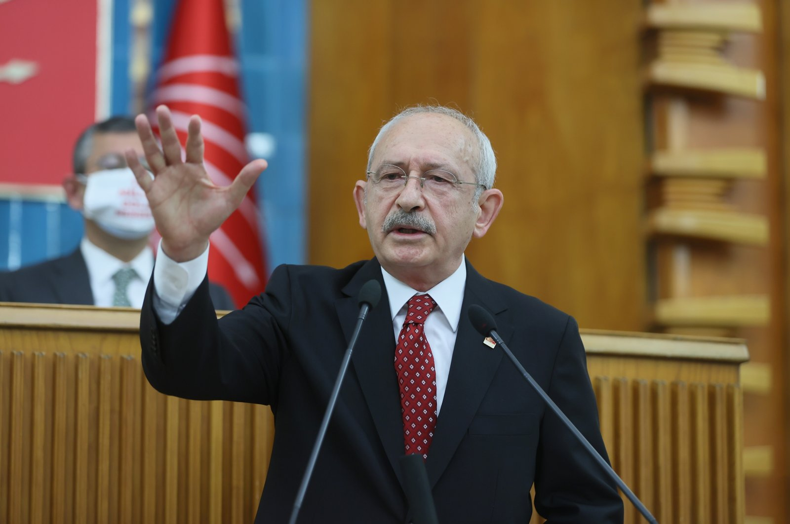 Republican People's Party's (CHP) Chairperson Kemal Kılıçdaroğlu addresses his party's parliamentary group, Ankara, Turkey, April 20, 2021. (AA Photo)