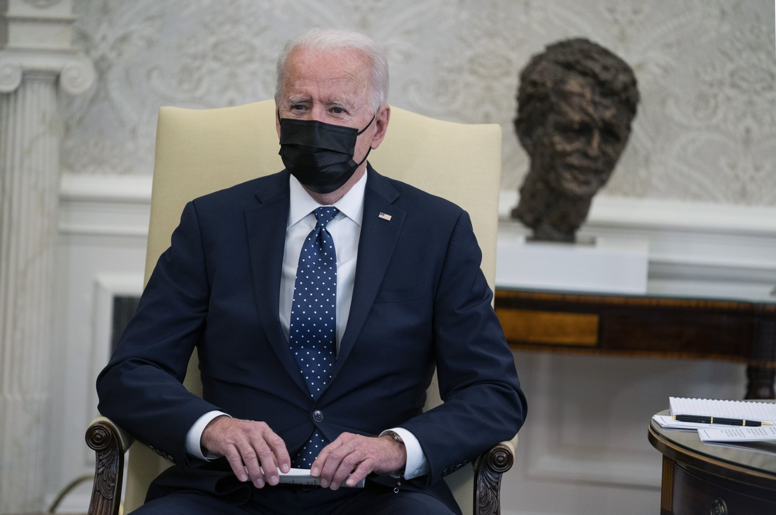 U.S. President Joe Biden speaks during a meeting with members of the Congressional Hispanic Caucus, in the Oval Office of the White House, Washington, U.S., Tuesday, April 20, 2021. (AP Photo)