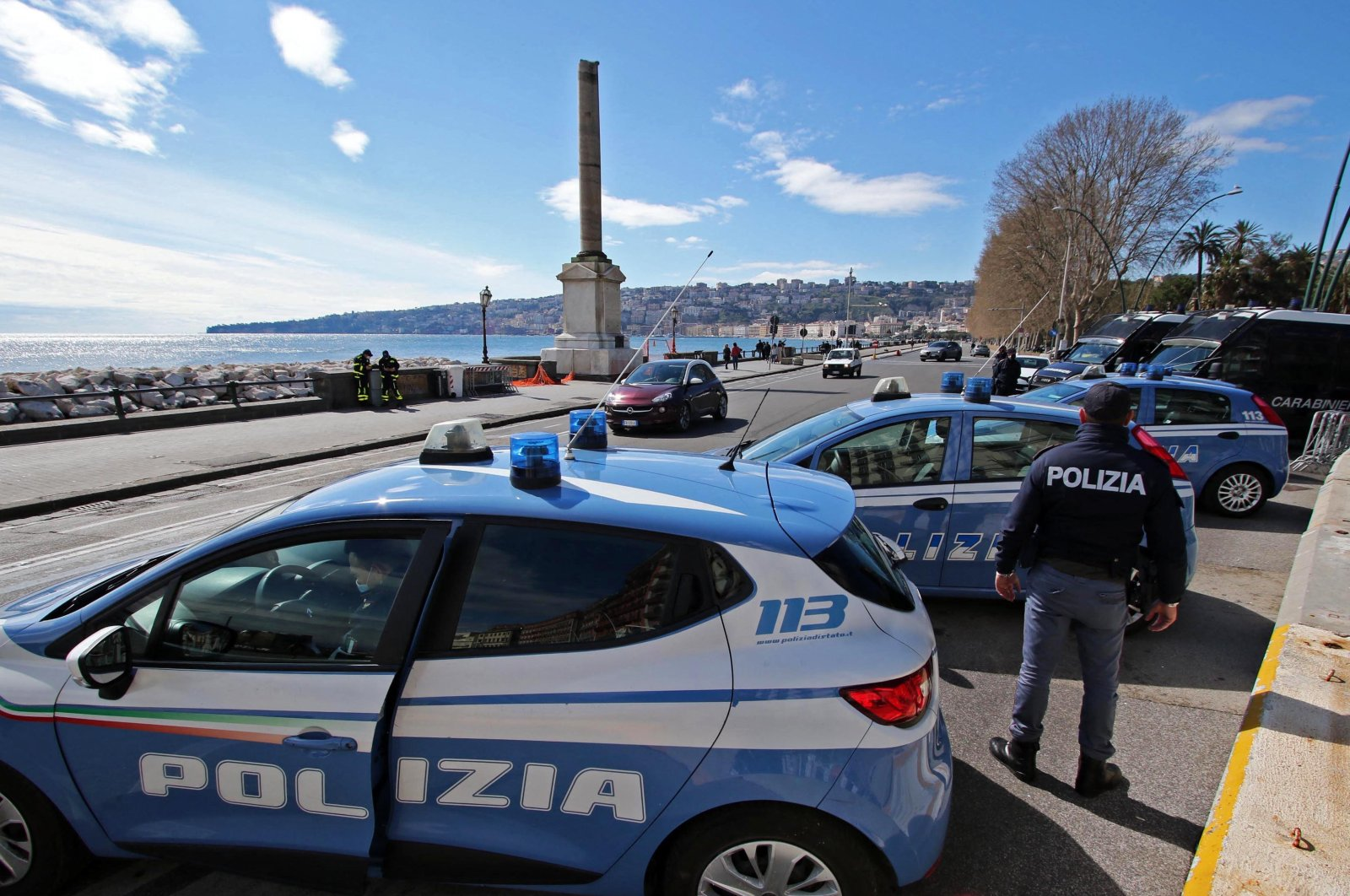 Police cars parked in Naples, Italy, March 20, 2021. (Reuters Photo)