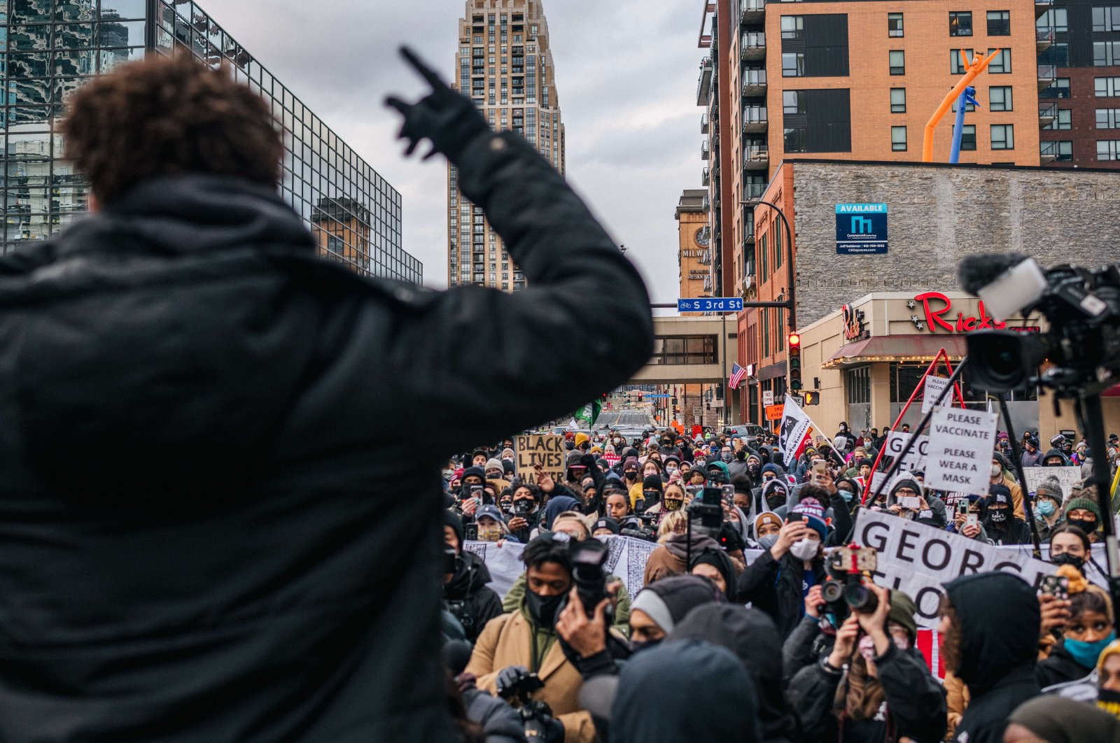Local organizer Brandyn Tulloch speaks to the crowd during a demonstration in Minneapolis, Minnesota, U.S.,April 19, 2021. (AFP Photo)