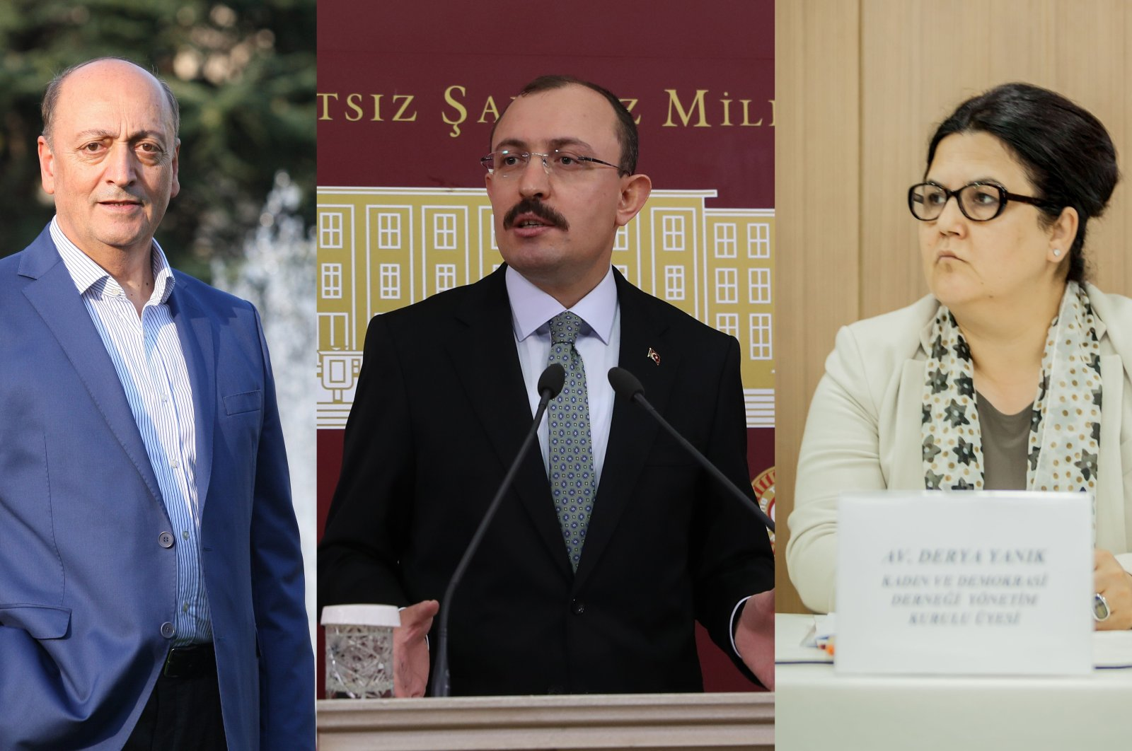 New Minister of Social Security Vedat Bilgin (L), new Trade Minister Mehmet Muş (C) and new Minister of Family and Social Services Derya Yanık are seen in this combination photo.