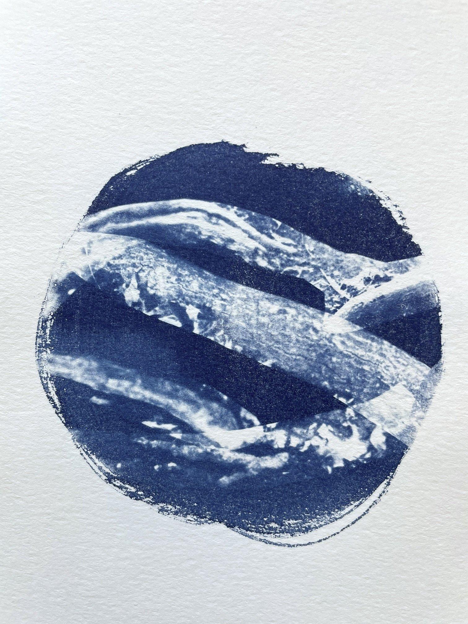 "Aslı Narin, ""Below and Beyond 15,' 2021, cyanotype printing on watercolor paper, 14 by 21.6 centimeters."