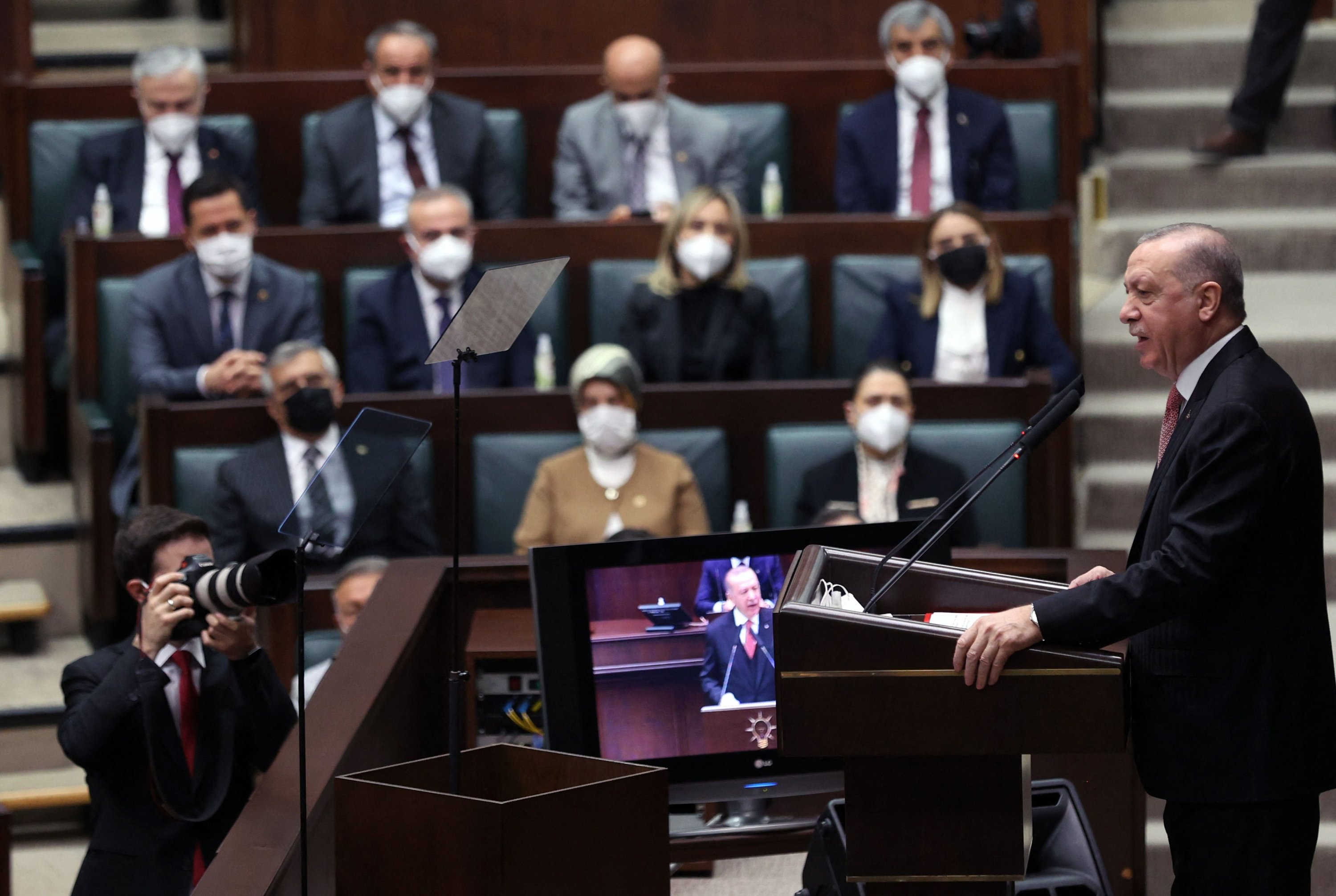 President and leader of the ruling Justice and Development Party (AK Party) Recep Tayyip Erdoğan speaks during his party's group meeting at the Grand National Assembly of Turkey (GNAT), in Ankara, Turkey, April 21, 2021. (AFP Photo)