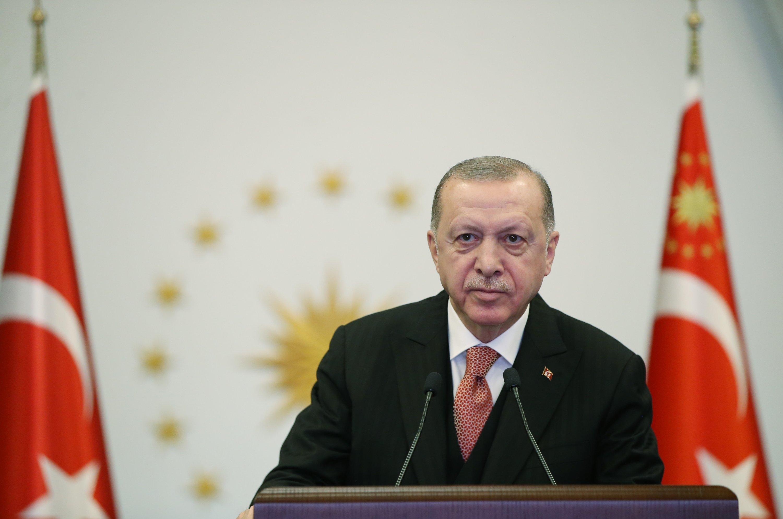 Turkey's President Recep Tayyip Erdoğan attends the opening ceremony of the Turkey-Albania Fier Regional Hospital via online conference, Albania, on April 21, 2021. (AA Photo)