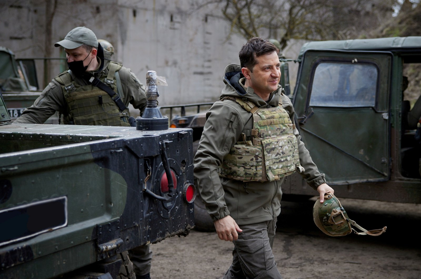Ukraine's President Volodymyr Zelenskiy visits positions of armed forces near the front line with Russian-backed separatists in Donbass region, Ukraine, April 9, 2021. (Ukrainian Presidential Press Service via Reuters)