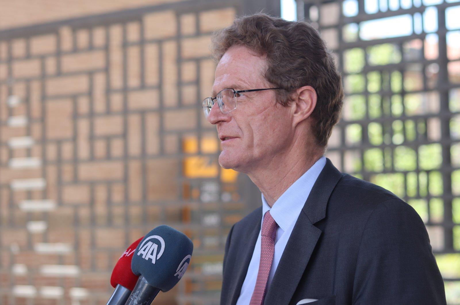 European Union envoy to Turkey, Nikolaus Meyer-Landrut, talks during his visit to Adana, southern Turkey, April 21, 2021 (Photo: Daily Sabah)