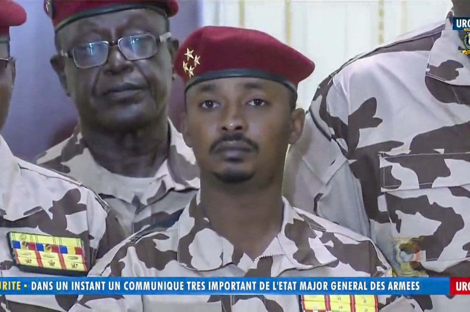 Mahamat Idriss Deby Itno (C), 37, the son of Chadian President Idriss Deby Itno, is seen during a military broadcast announcing the death of his father on state television on April 20, 2021. (AP Photo)