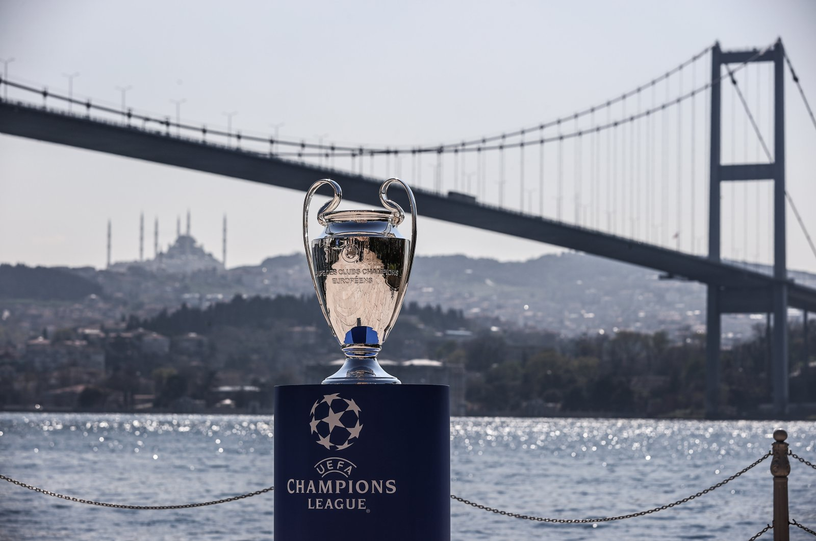 The UEFA Champions League trophy at the city's Esma Sultan Mansion, overlooking the historic Bosporus, April 21, 2021. (AA Photo)