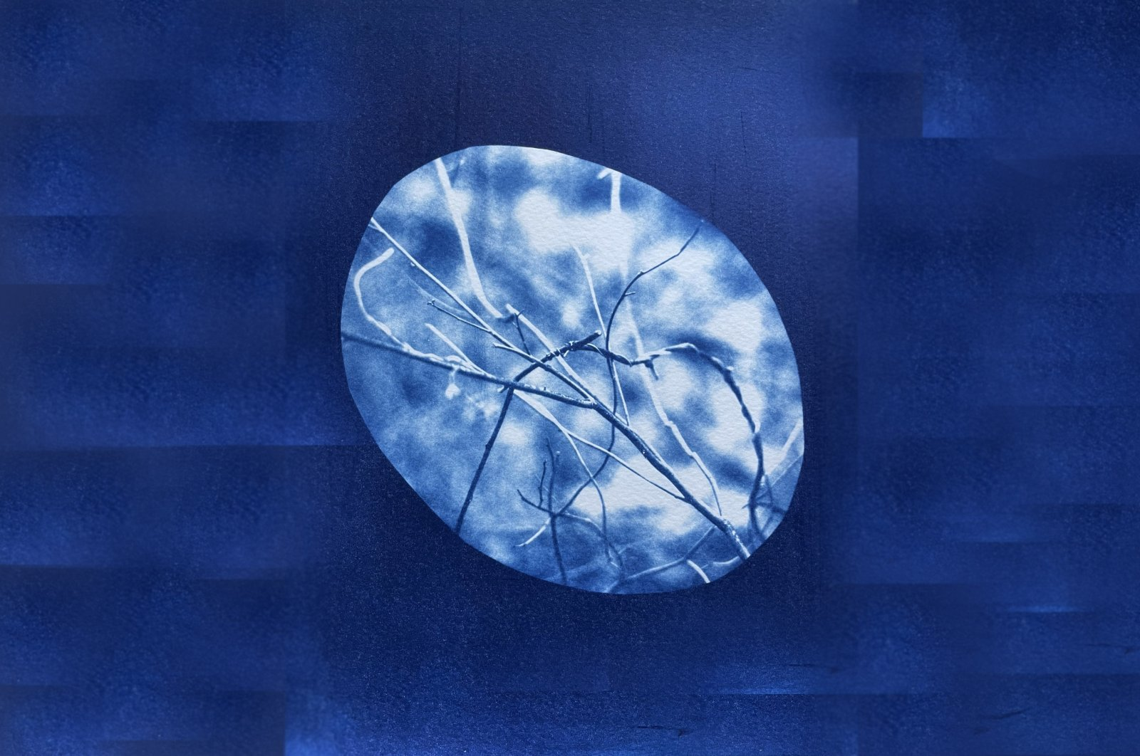 """Aslı Narin, """"Signals and Exchanges 15,"""" 2021, cyanotype printing on watercolor paper, 22 by 9 by 30 centimeters."""