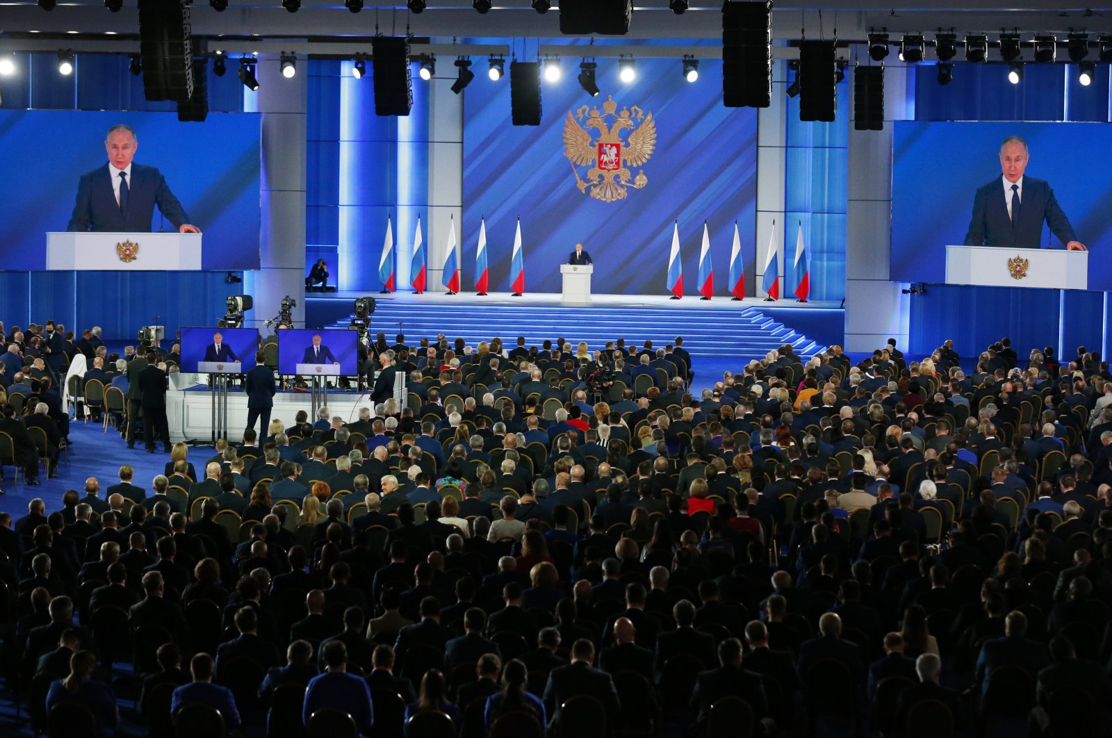 Russian President Vladimir Putin (C), gives his annual state of the nation address in Manezh, Moscow, Russia, April 21, 2021. (AP Photo)