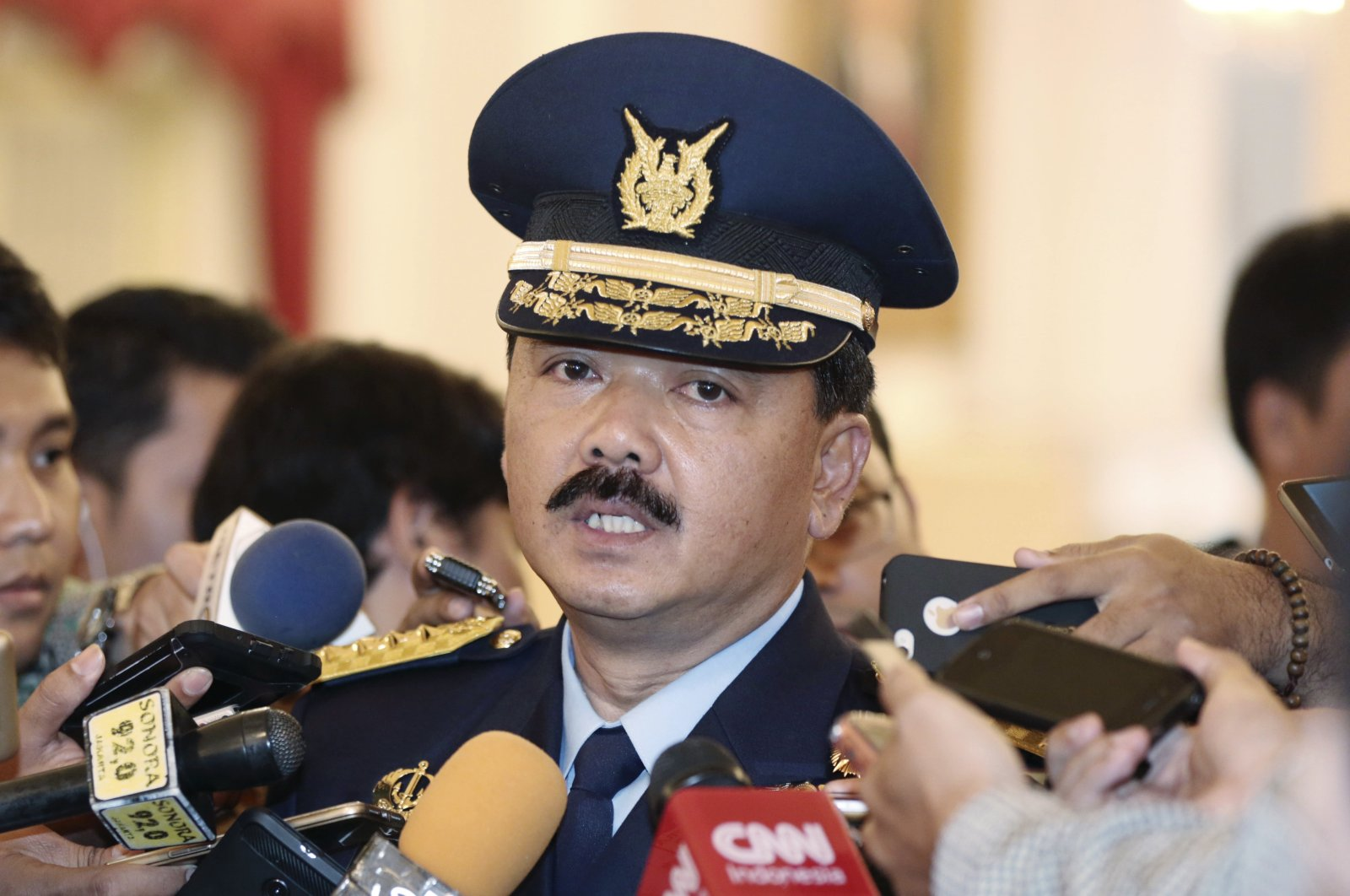 Indonesia's then Air Force Chief of Staff Air Marshall Hadi Tjahjanto talks to journalists after his swearing-in ceremony at the presidential palace in Jakarta, Indonesia, Jan. 18, 2017. (AP Photo)