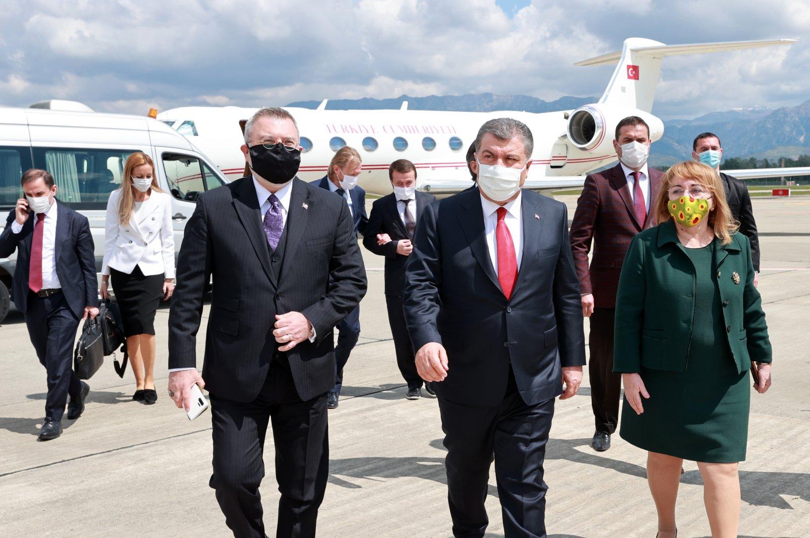 Turkey's Minister of Health Fahrettin Koca (C) landed in Albania for the opening ceremony of the Turkey-Albania Fier Regional Hospital, Albania, April 21, 2021. (AA Photo)