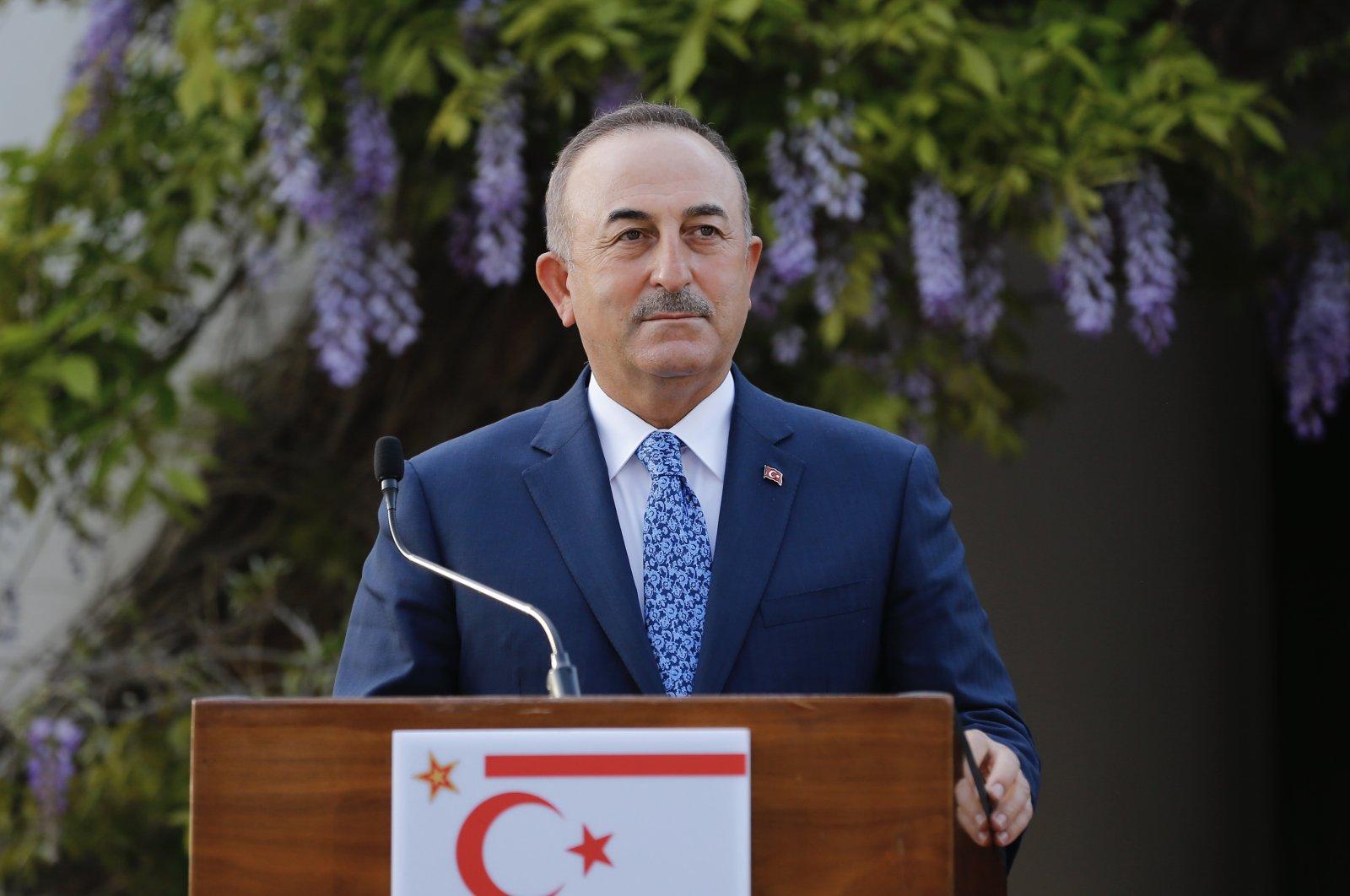 Foreign Minister Mevlüt Çavuşoğlu speaks in Lefkoşa (Nicosia), Turkish Cyprus, April 16, 2021. (AA Photo)