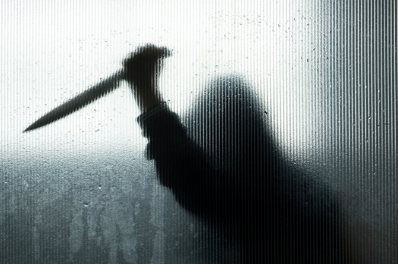Blurred shadow of hand holding knife behind frosted glass in the bathroom. (Shutterstock Photo)