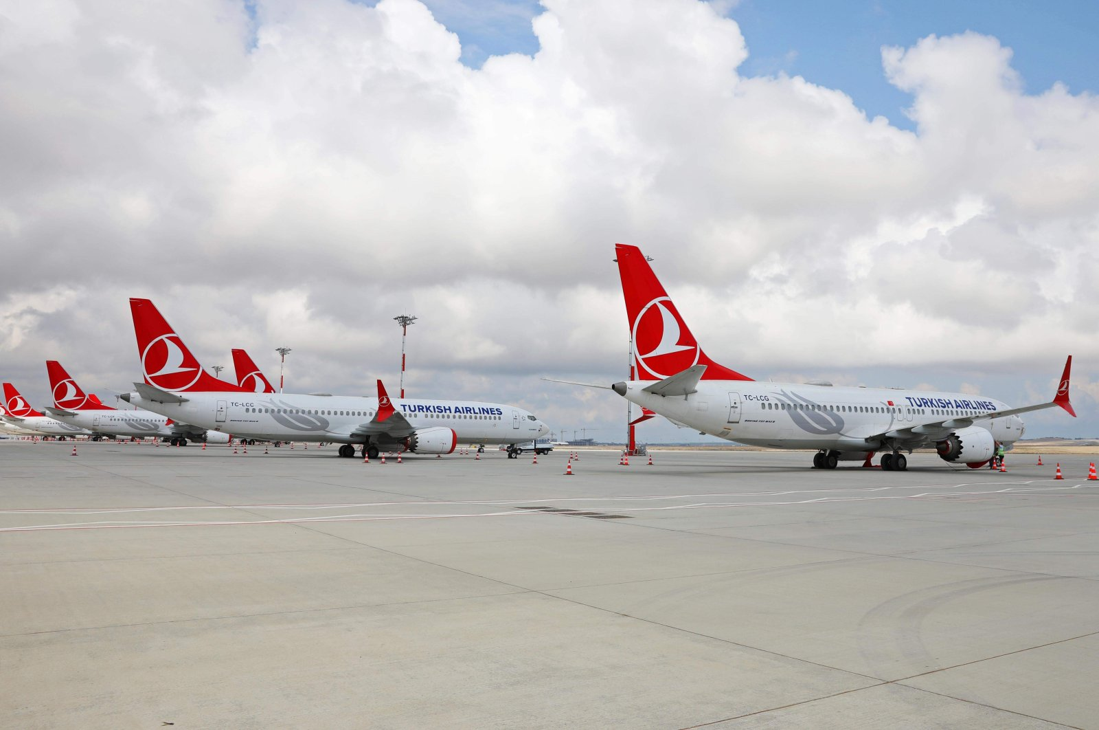 Turkish Airlines' Boeing 737-MAX airplanes sit parked at an airport in Istanbul, Turkey.