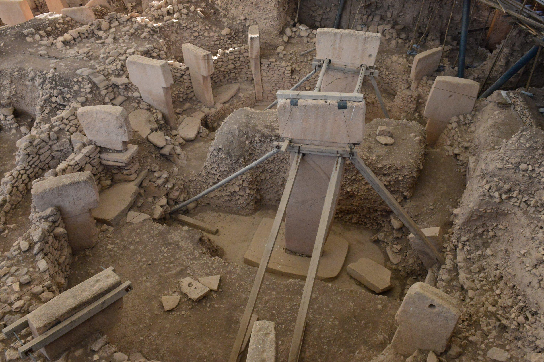 T-shaped obelisks from the Neolithic era at the site of Göbeklitepe, Şanlıurfa, southeastern Turkey, April 21, 2021. (AA Photo)