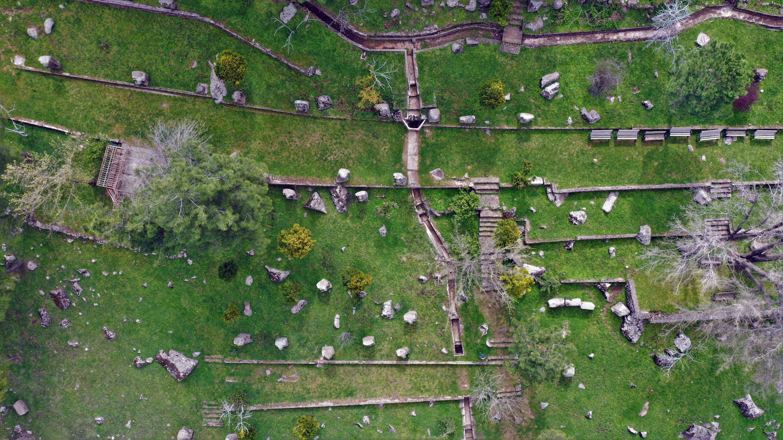 An aerial view of the Yesemek Open-Air Museumand Sculpture Workshop, Gaziantep, southeastern Turkey, April 21, 2021. (AA Photo)