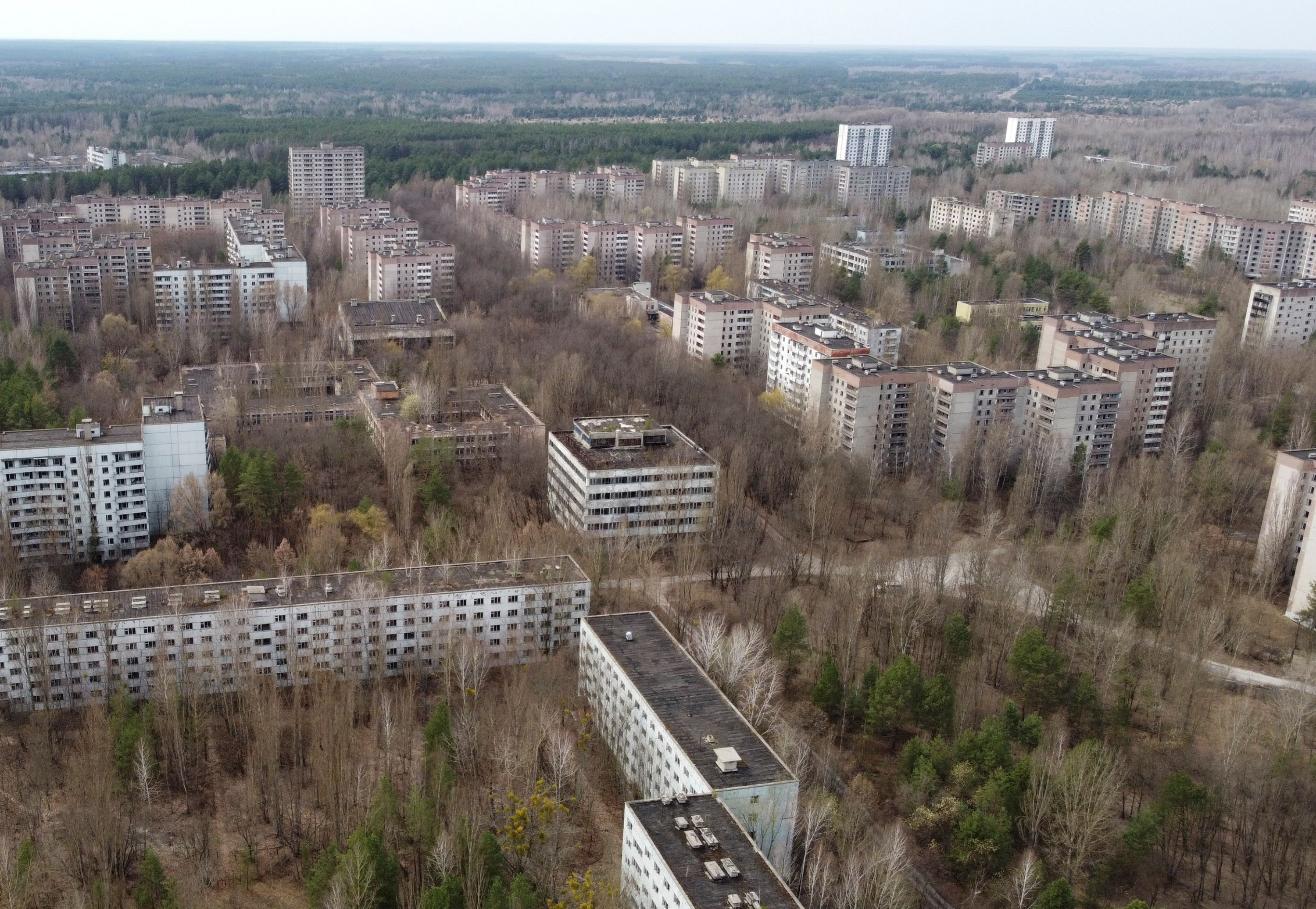 A view shows the abandoned city of Pripyat near the Chernobyl Nuclear Power Plant, Ukraine, April 12, 2021. (Reuters Photo)