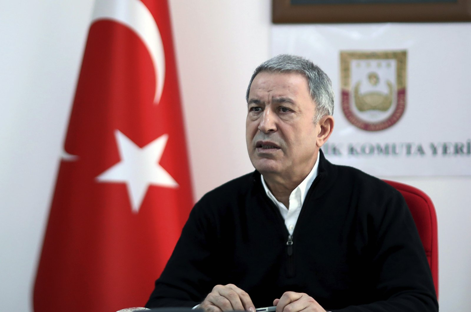 Defense Minister Hulusi Akar speaks at a military headquarters near the Syrian border in Hatay, Turkey, March 1, 2020. (AP Photo)