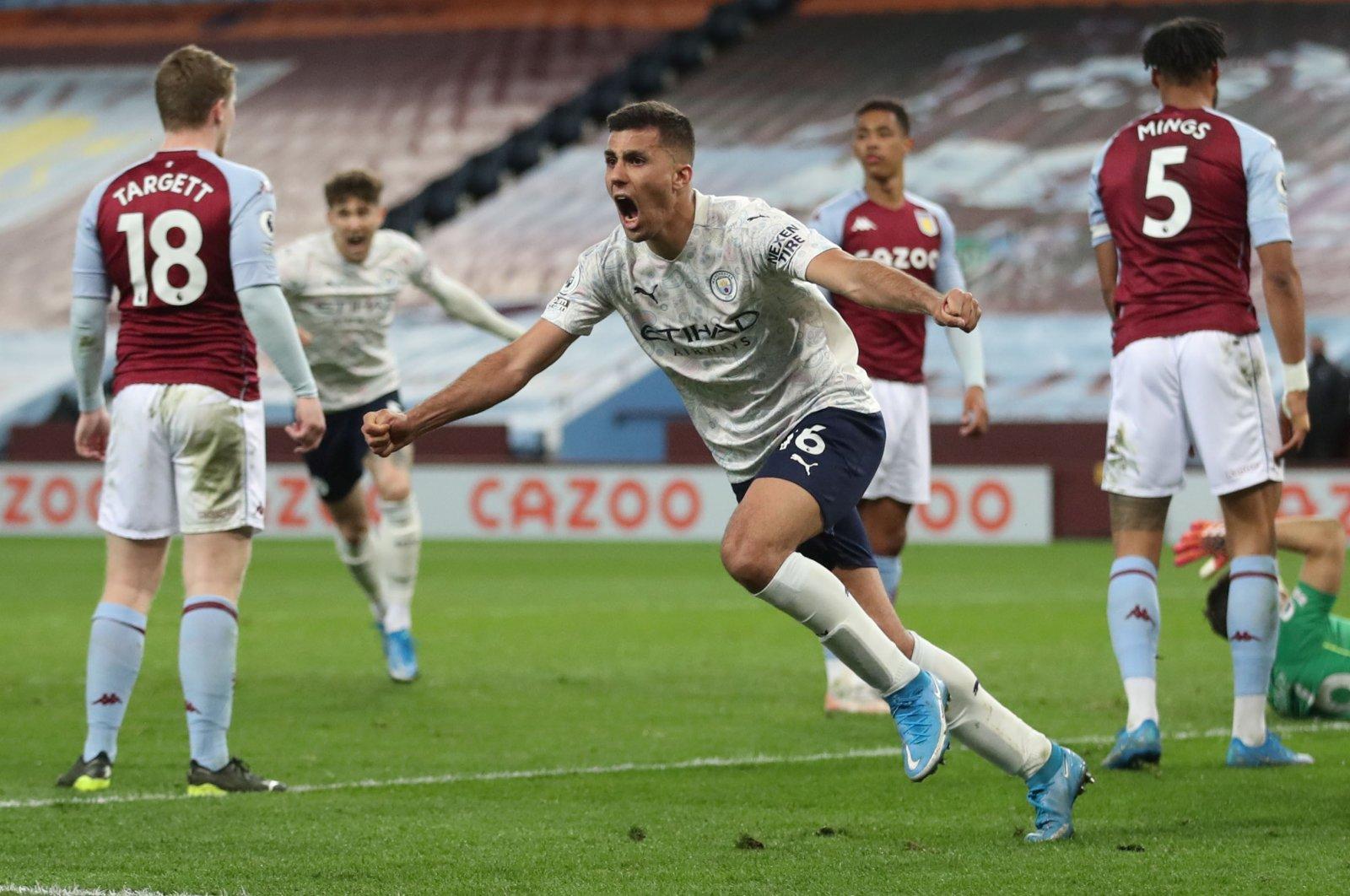 Manchester City's Rodrigo celebrates scoring against Aston Villa in a Premier League match at Villa Park, Birmingham, Britain, April 21, 2021. (Reuters Photo)