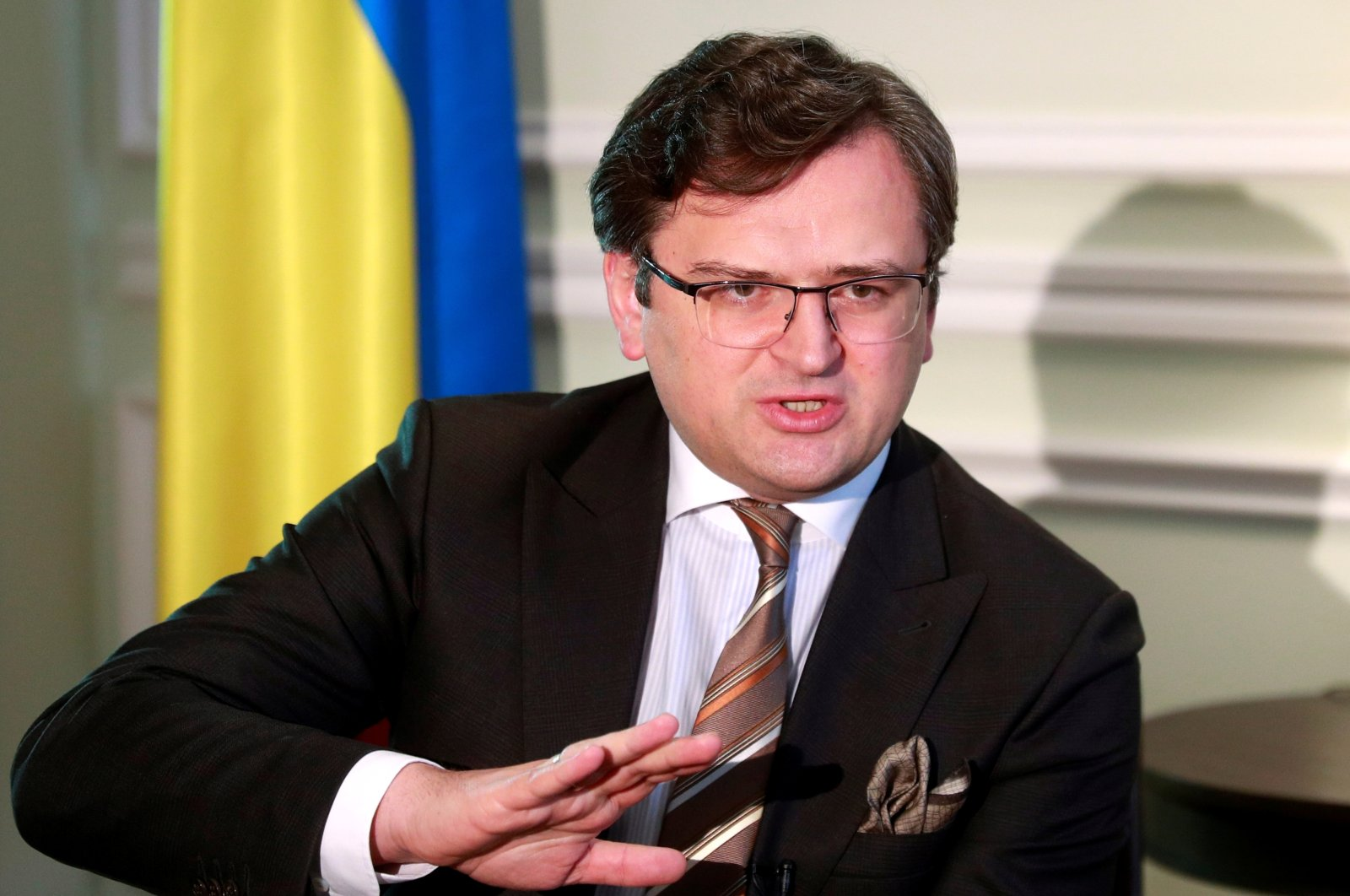 Ukraine's Foreign Minister Dmytro Kuleba speaks during an interview with Reuters in Kyiv, Ukraine, April 21, 2021. (Reuters Photo)