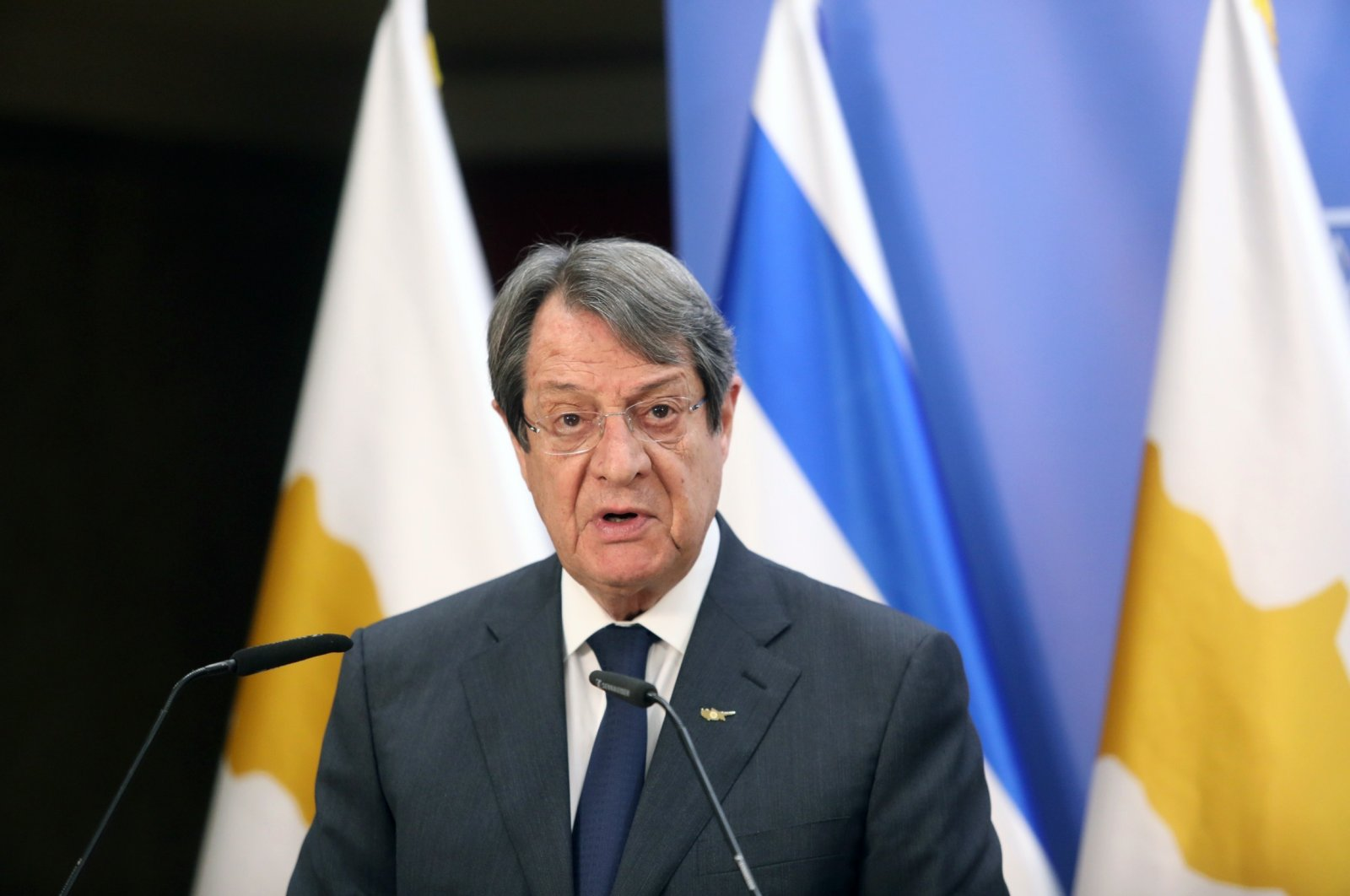 Greek Cypriot leader Nicos Anastasiades delivers a statement after meeting with Israeli Prime Minister Benjamin Netanyahu in Jerusalem, Sunday, Feb. 14, 2021. (AP File Photo)