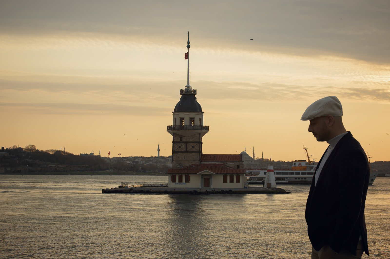Maher Zain poses in front of the Maiden's Tower, Istanbul, Turkey, April, 22, 2021. (IHA Photo)