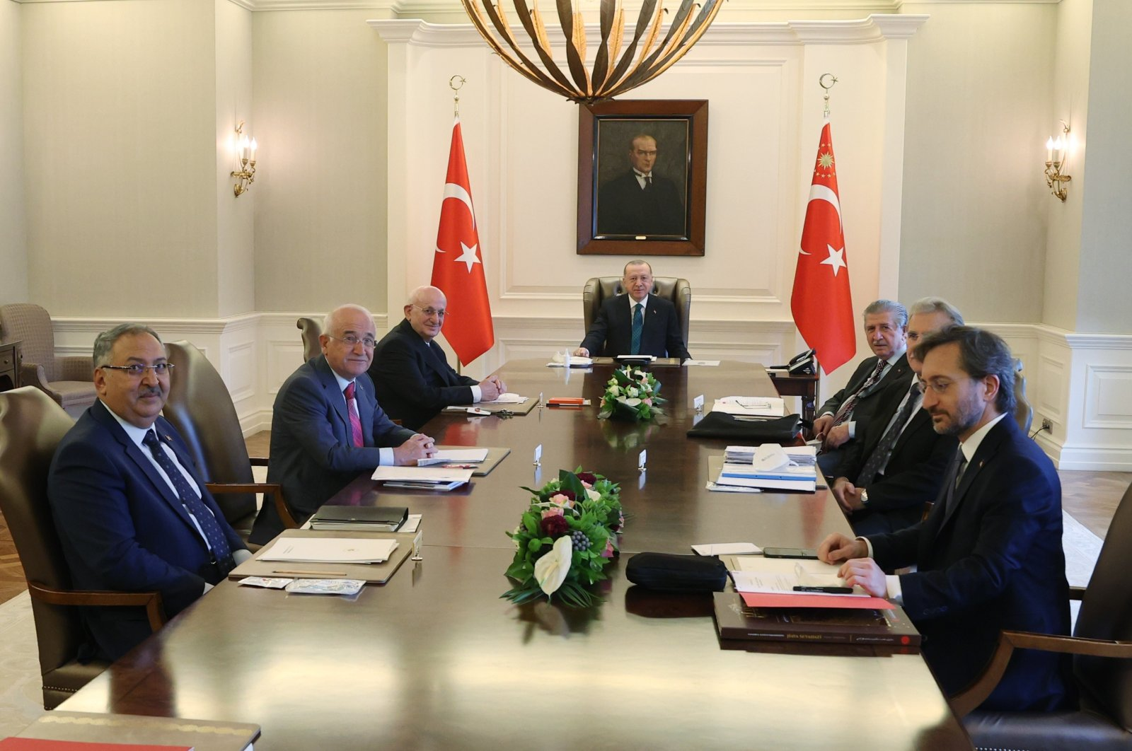 President Recep Tayyip Erdoğan attends a meeting with High Advisory Board members in Ankara, April 22, 2021. (IHA)