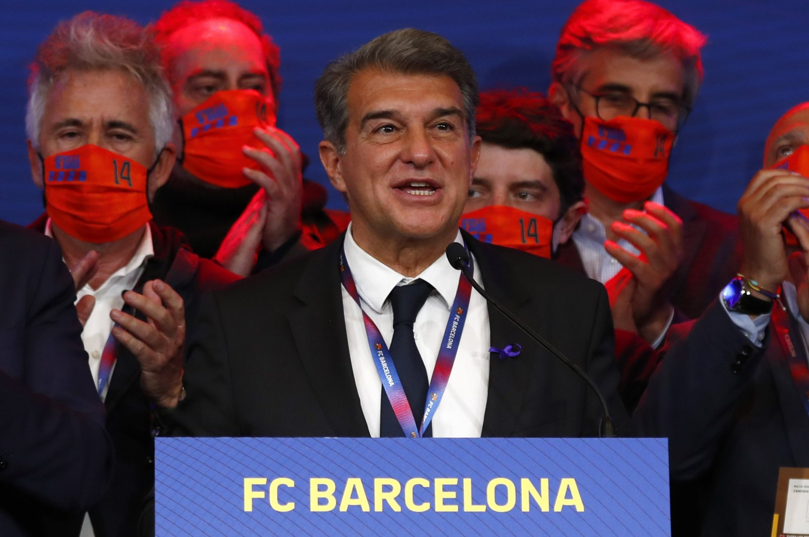 Joan Laporta celebrates his victory after elections at the Camp Nou stadium in Barcelona, Spain, March 7, 2021 (AP Photo)