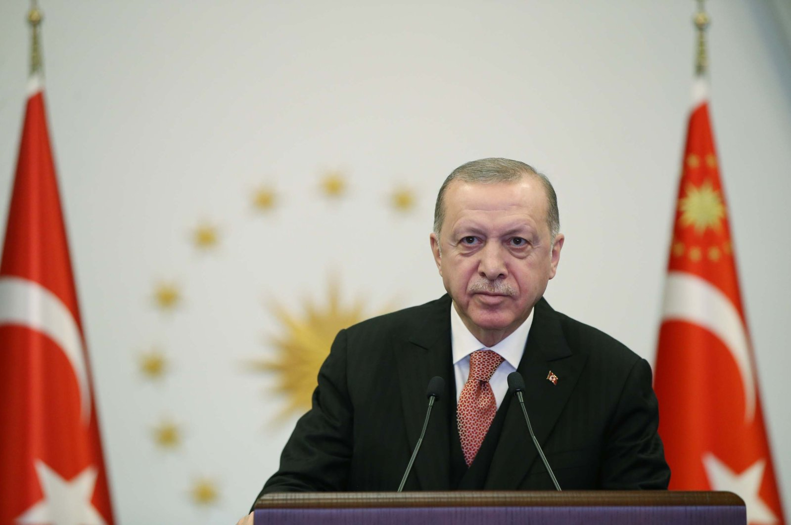 President Recep Tayyip Erdoğan speaks at an event in the capital Ankara, Turkey, April 21, 2021. (DHA Photo)