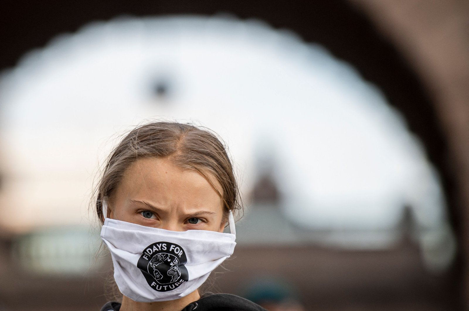 Swedish climate activist Greta Thunberg takes part in a Fridays For Future protest in front of the Swedish Parliament (Riksdagen) in Stockholm, Sweden, Sept. 25, 2020. (AFP Photo)