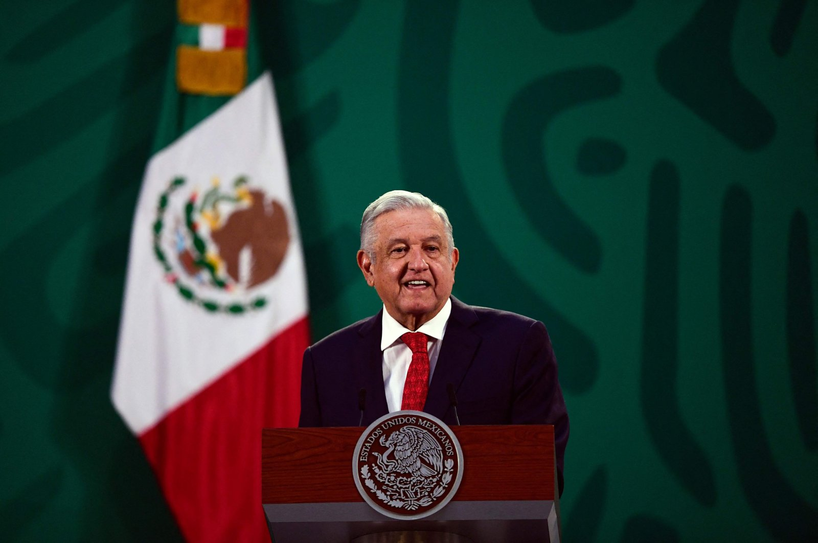 Mexican President Andres Manuel Lopez Obrador delivers a speech during the virtual Earth Day Summit, at the National Palace in Mexico City, U.S., April 22, 2021. (AFP Photo)