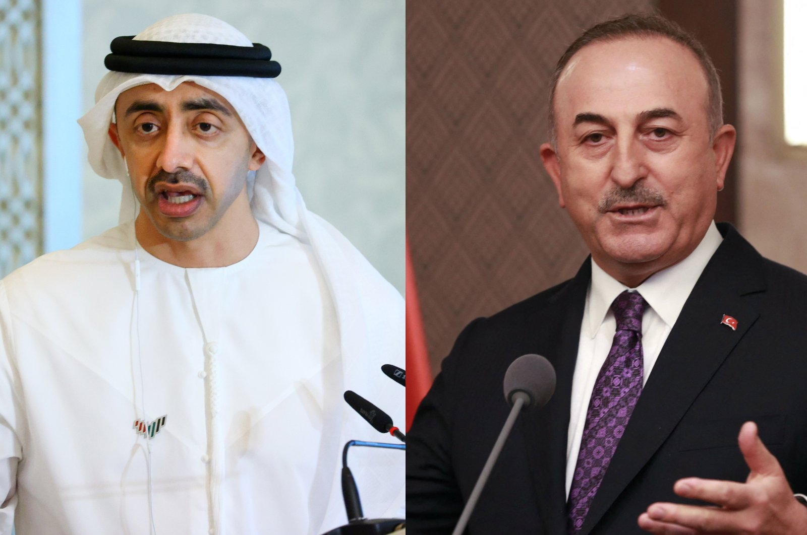 Foreign Minister Mevlüt Çavuşoğlu (R) and his UAE counterpart Abdullah bin Zayed bin Sultan Al Nahyan are seen in this combination photo. (Photos by AFP & Reuters)