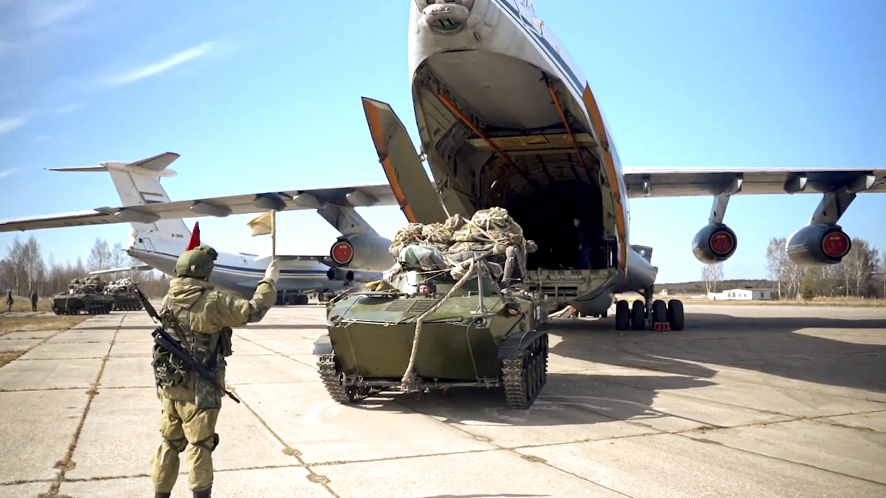A Russian military vehicle preparing to be loaded into a plane for airborne drills during maneuvers in Crimea, photo released by Russian Defense Ministry Press Service on April 22, 2021. (Russian Defense Ministry Press Service via AP)