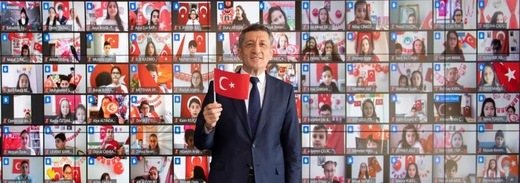 National Education Minister Ziya Selçuk speaks with children from all 81 provinces of Turkey in an online meeting to mark April 23 National Sovereignty and Children's Day, in Ankara, Turkey, April 23, 2021. (DHA Photo)