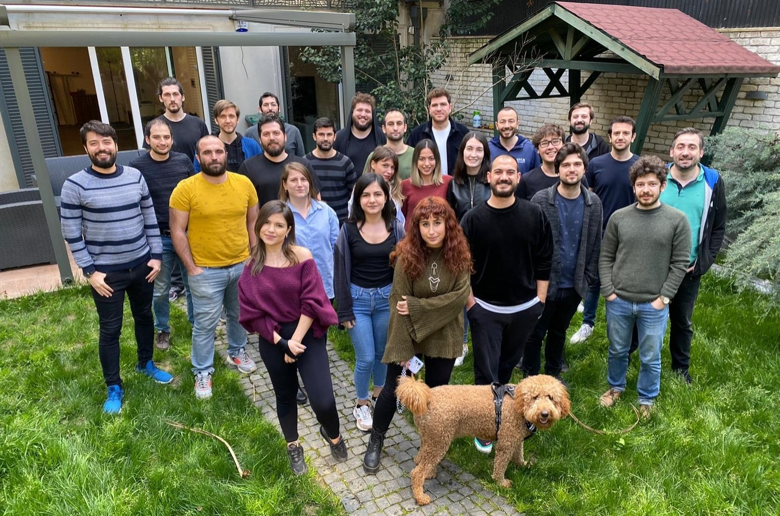 Members of Istanbul-based gaming startup Ace Games stand together in a photo provided on April 21, 2021. (Courtesy of Ace Games)