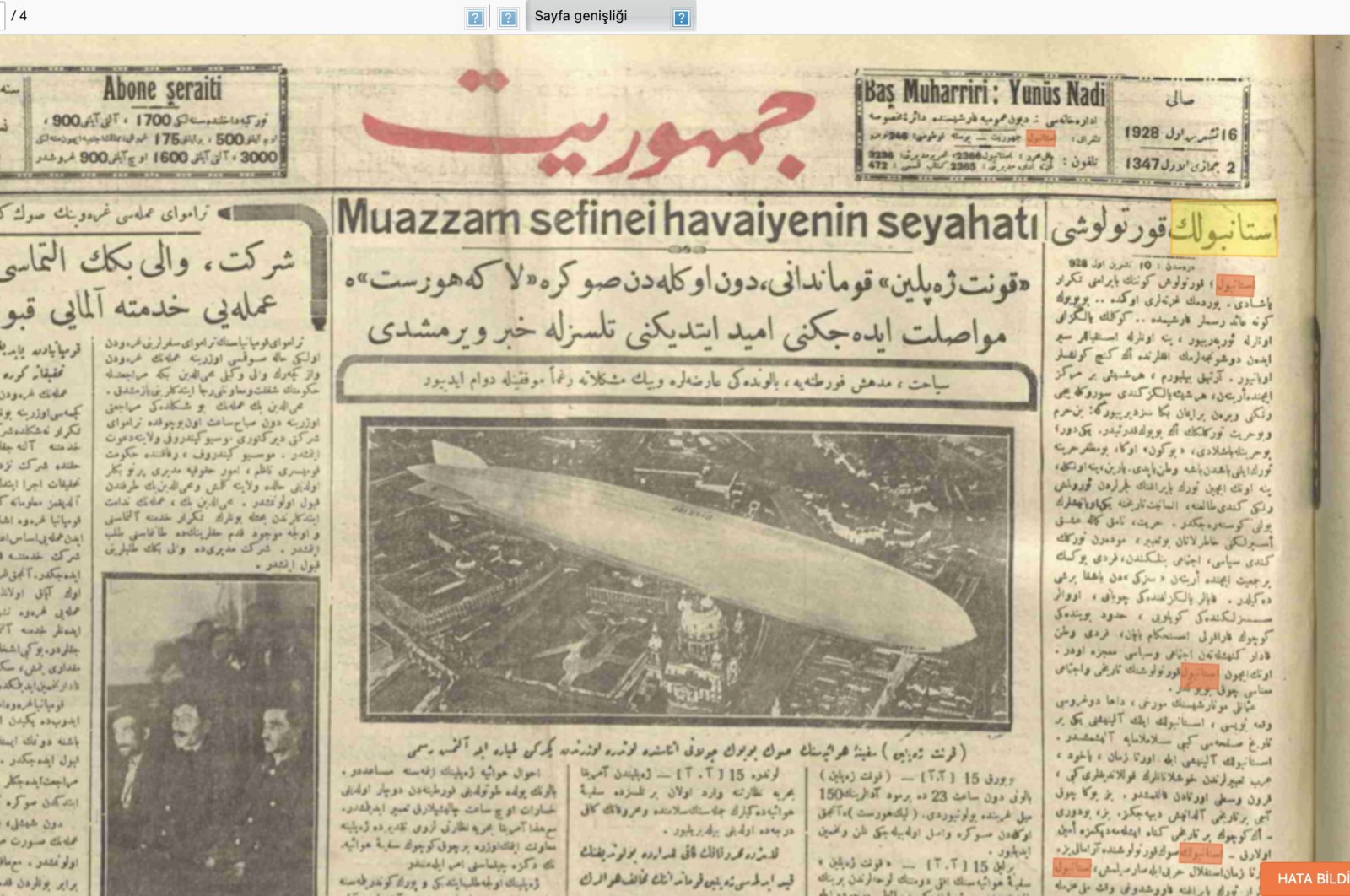 "A screenshot from the website ""WikiLala"" shows the front page of the Ottoman newspaper Cumhuriyet's Oct. 15, 1928 issue, with the keyword ""Istanbul"" highlighted, obtained on April 22, 2021."