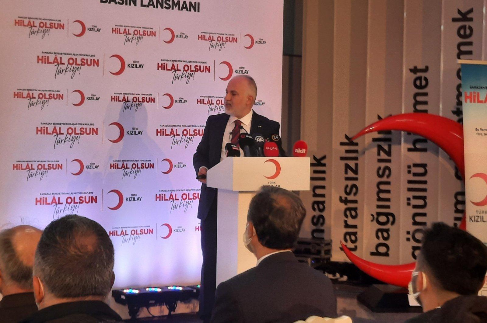 Turkish Red Crescent (Kızılay) chair Kerem Kınık speaks at a press conference in Istanbul, Turkey, April 7, 2021. (IHA Photo)
