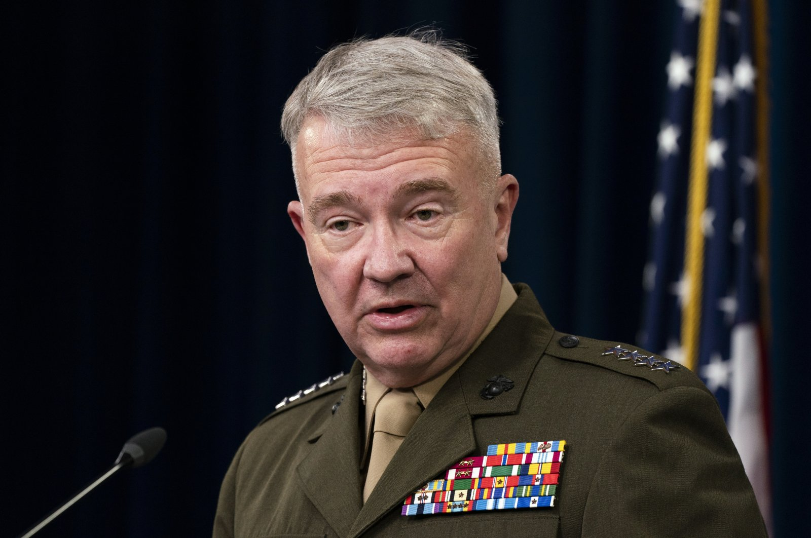 Gen. Kenneth McKenzie Jr., commander of the United States Central Command, speaks during a briefing at the Pentagon in Washington, U.S., April 22, 2021. (AP Photo)
