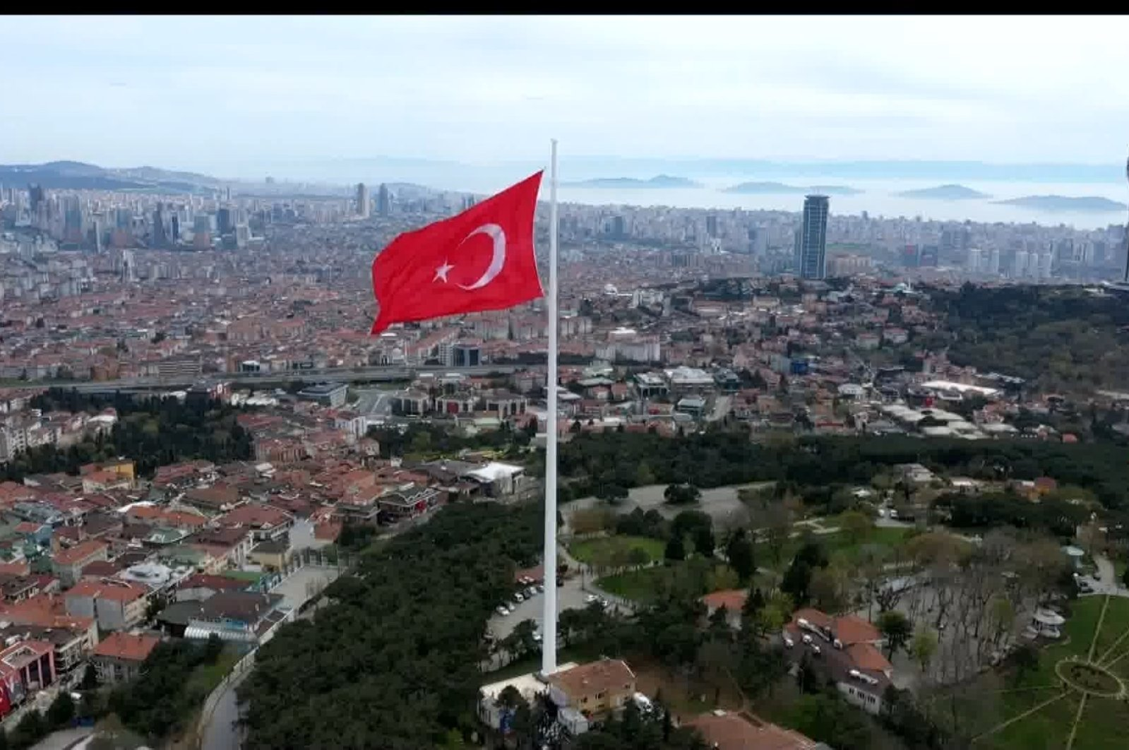 A view of the new flag pole during the ceremony to hoist the flag, in Istanbul, Turkey, April 23, 2021. (DHA PHOTO)