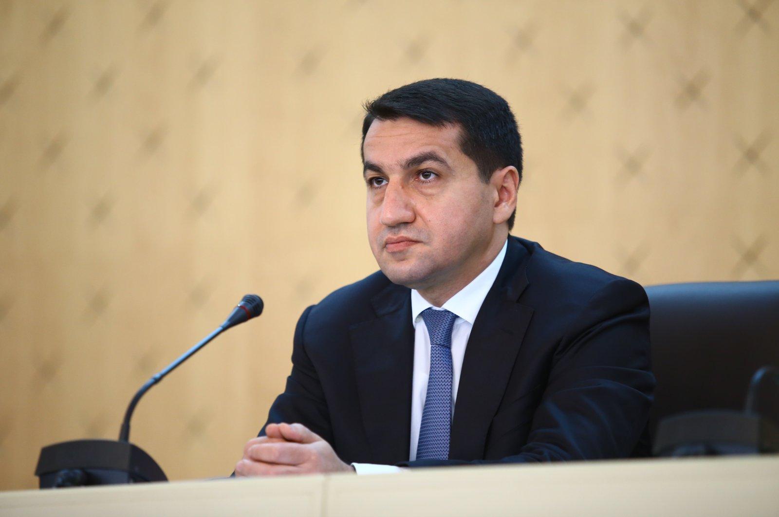 Azerbaijani Presidential aide Hikmet Hajiyev speaks in Baku, Azerbaijan, Oct. 11, 2020. (AA Photo)
