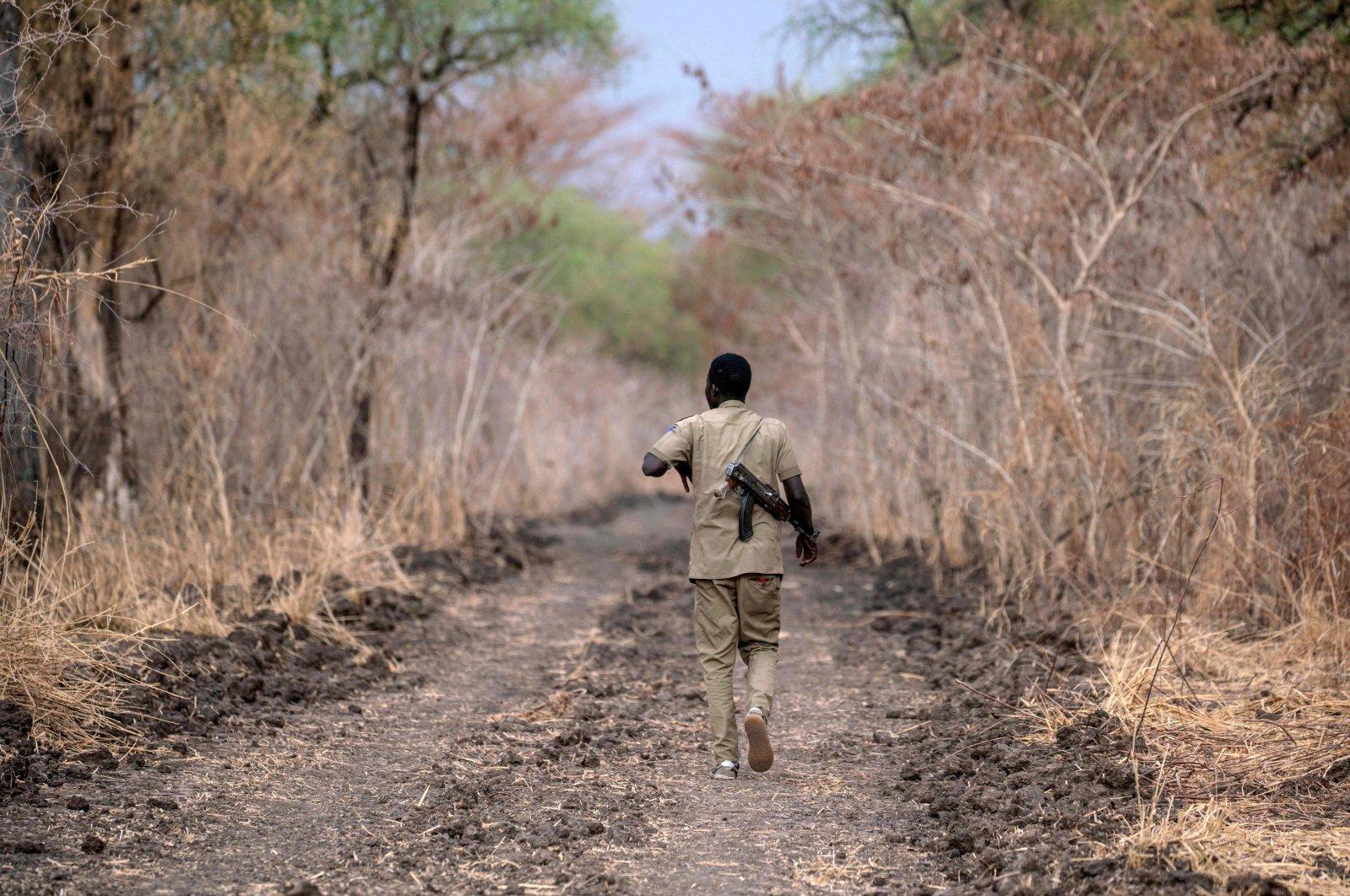 A ranger patrols Dinder National Park, about 400 kilometers (248 miles) southeast of the capital, Khartoum, Sudan, April 7, 2021. (AFP Photo)