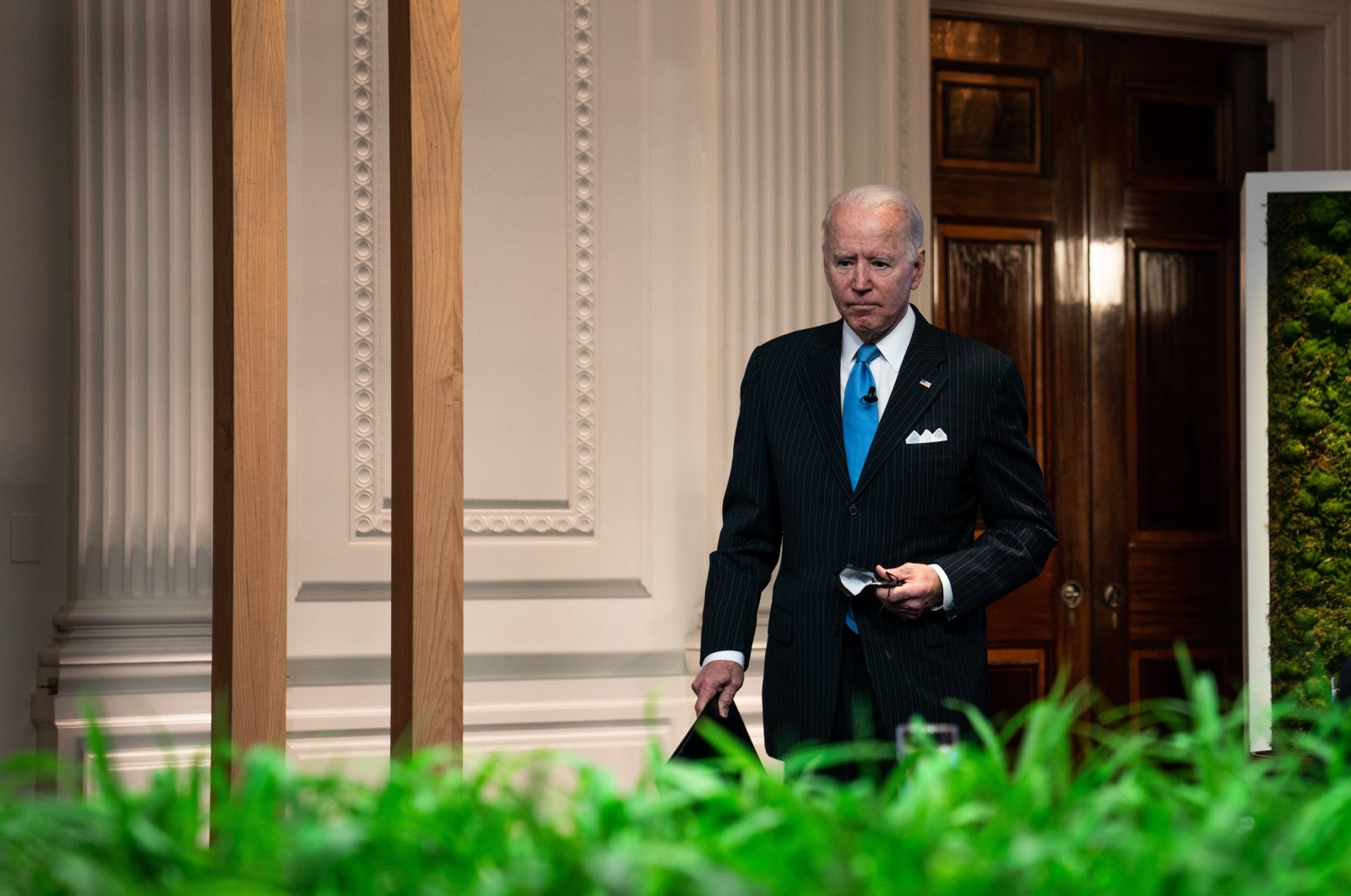 U.S. President Joe Biden during the virtual Leaders Summit on Climate in the East Room of the White House in Washington, D.C., U.S., April 23, 2021. (EPA Photo)