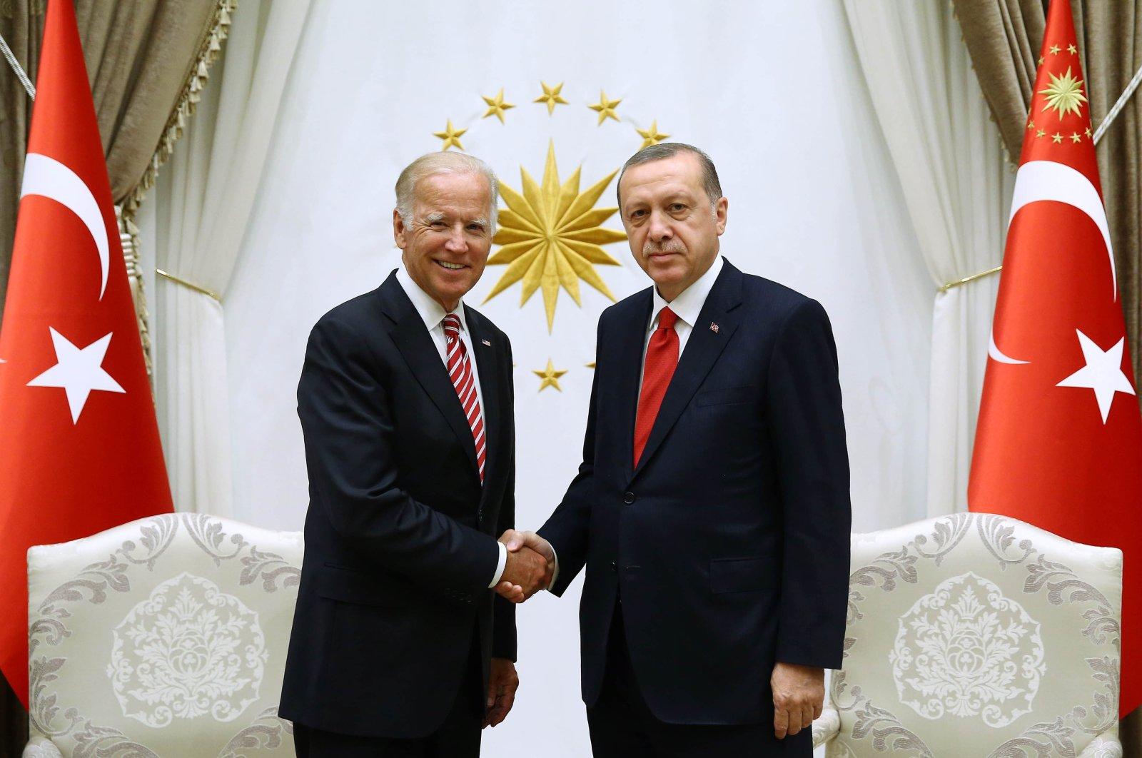 Then U.S. Vice President Joe Biden (L) and President Recep Tayyip Erdoğan during a meeting in the capital Ankara, Turkey, Aug. 24, 2016. (AA File Photo)