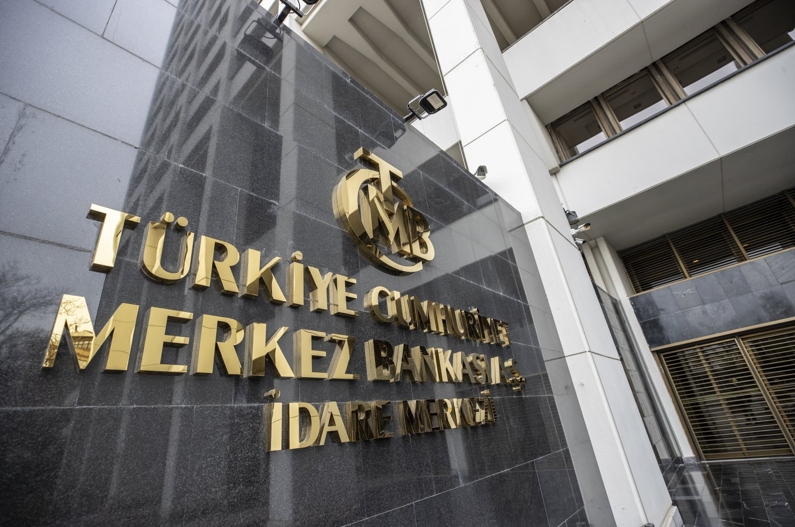 The logo of the Central Bank of the Republic of Turkey at the entrance of the bank's headquarters in the capital Ankara, Turkey, April 19, 2020. (AA Photo)