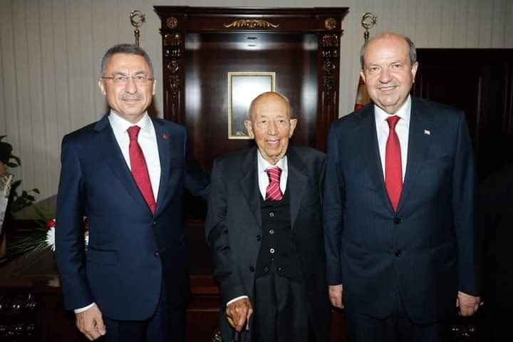 TRNC President Ersin Tatar (R) Turkish Vice President Fuat Oktay (L) and Tatar's father Rüstem Tatar are seen in this undated file photo issued on April 24, 2021. (IHA Photo)
